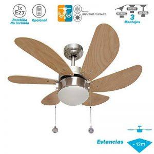 003 offre Ventilateur de plafond 6 pales Nickel/hêtre réversible AkunaDecor 1XE27 moteur. de la marque FABRILAMP image 0 produit