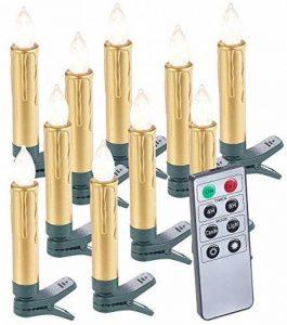 10 bougies LED pour sapin de Noël avec télécommande - coloris Or de la marque Lunartec image 0 produit