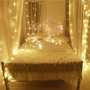10M LED cordes Guirlande lumineuse 100LED imperméable blanc chaud romantiques avoirs actuels Transparent plug UE pour R Chambres lit Fête de Noël Mariage Chambre 220V-8 Type-extensible (couleur blanc de la marque OrangePlan image 0 produit
