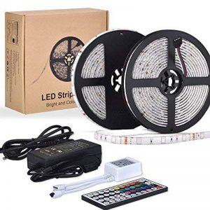 10m LED Ruban 5050 RGB 300 leds IP65 Étanche, ESEYE Kit Bande LED RGB+W 2.4W/m Flexible Multicolore Peut-Découpé Clignotant au Néon Decor Rubans Avec Télécommande/IR Récepteur/Alimentation 12V 5A de la marque ESEYE image 0 produit