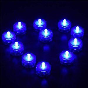 12 Lumières de LED Submersible Batterie Etanche Mariage Partie Sous-marine Bougies Feux, Lumière de Thé (Bleu) de la marque Oshide image 0 produit