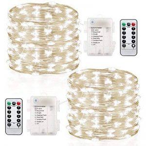 2 x10m Guirlande LED Lumineuse à Pile 100 LEDs Fonction Minuterie avec Télécommande IP65 Etanche Décoration intérieur et extérieur pour Noël Mariage Soirée Maison Jardin (blanc, 10m) de la marque InteTech image 0 produit
