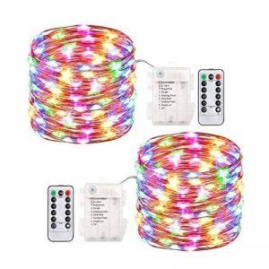 2 x10m Guirlande LED Lumineuse à Pile 100 LEDs Fonction Minuterie avec Télécommande IP65 Etanche Décoration intérieur et extérieur pour Noël Mariage Soirée Maison Jardin (multicolore) de la marque InteTech image 0 produit