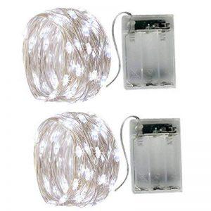 2 x50 LEDs Guirlande lumineuse fil Micro Batterie Opération et 2 Programme pour fête, jardin, Noël, Halloween, Mariage, éclairage décoratif Blanc froid de la marque BXROIU image 0 produit