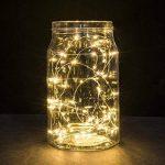 2 x50 LEDs Guirlande lumineuse fil Micro Batterie Opération et 2 Programme pour fête, jardin, Noël, Halloween, Mariage, éclairage décoratif blanc chaud de la marque BXROIU image 3 produit