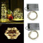 2 x50 LEDs Guirlande lumineuse fil Micro Batterie Opération et 2 Programme pour fête, jardin, Noël, Halloween, Mariage, éclairage décoratif blanc chaud de la marque BXROIU image 2 produit