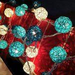 20 LED Boule de Rotin Ball Guirlandes Lumineuses Chambre Batterie Blanc Chaud Décor Pour étonnement Proposer Chambre d'enfant [Télécommande,8 Mode,Minuteur Automatique,Dimmable,Ball Diamètre:5.2cm] de la marque EchoSari image 3 produit