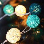 20 LED Boule de Rotin Ball Guirlandes Lumineuses Chambre Batterie Blanc Chaud Décor Pour étonnement Proposer Chambre d'enfant [Télécommande,8 Mode,Minuteur Automatique,Dimmable,Ball Diamètre:5.2cm] de la marque EchoSari image 1 produit