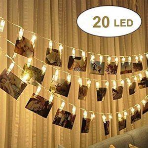 20 LED Guirlande Lumineuse photo Clip,Alimenté par batterie 2.4m LED Photo Clip Pince, Photo Clips Chaîne Light pour décoration intérieure/extérieure Décor Mariage Mural Chambre, Afficher Photo, Pictures, Artwork, Décor La Noël, Anniversaire, Saint Valent image 0 produit