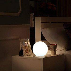 20cm Boule Lumineuse LED Lumière d'Ambiance avec Télécommande, Veilleuse LED Lampe de Chevet pour Enfants avec Couleur Changeante, 16 RGB Couleurs et Rechargeable Batterie de la marque COOL QING image 0 produit