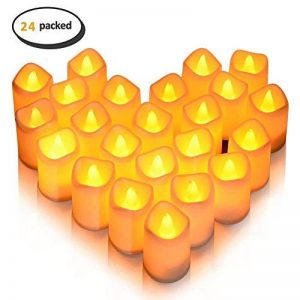 24 lumières de bougie, Lunsy lumières de thé sans flammes blanches et chaudes de LED, lumières de bougie alimentées par cellules de bouton pour le mariage de partie de décor de la marque Lunsy image 0 produit