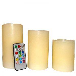 3 Bougies en Cire véritable - LED à Piles, Flamme Vacillante - Multi couleurs - Hauteur : 15cm, 12,5cm et 10cm de la marque Fishtec ® image 0 produit
