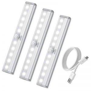 [3 Pack] AMIR Lampe Détecteur de Mouvement, Lampe de Placard, USB Rechargeable Veilleuse LED, 10 LED Lampe Escalier pour Cabinet Penderie Cuisine Armoire Placard Entrée Couloir Toilette Cabine (Blanc) de la marque AMIR image 0 produit