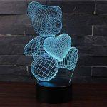 3D Lampes Illusions Optiques NHsunray 7 couleurs Changement Tactile Interrupteur Lumière De Nuit Art Déco Faites Une Ambiance Romantique Dans La Chambre Chambre Amoureux Salon Bar Café Restaurant (UN OURS MIGNON) de la marque sunray image 3 produit