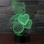 3D Lampes Illusions Optiques NHsunray 7 couleurs Changement Tactile Interrupteur Lumière De Nuit Art Déco Faites Une Ambiance Romantique Dans La Chambre Chambre Amoureux Salon Bar Café Restaurant (UN OURS MIGNON) de la marque sunray image 2 produit
