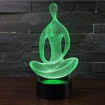 3D Lampes Illusions Optiques NHsunray 7 couleurs Changement Tactile Interrupteur Lumière De Nuit Art Déco Faites Une Ambiance Romantique Dans La Chambre Chambre D'enfants Salon Bar Café Restaurant (Yoga) de la marque sunray image 2 produit