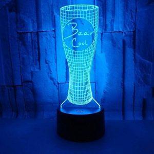 3D LED Lampe D'illusion Optique Veilleuse Chope À Biere Lumière De Nuit Avec Câble USB Et 7 Couleurs Décoration Pour Enfant Chambre Chevet Table De Bébé Enfant Cadeau De Noël Fête Anniversaire de la marque YUN Night Light@ image 0 produit