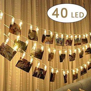 40 LED Guirlande Lumineuse photo Clip,Alimenté par batterie 5m LED Photo Clip Pince, Photo Clips Chaîne Light pour décoration intérieure/extérieure Décor Mariage Mural Chambre, Afficher Photo, Pictures, Artwork, Décor La Noël, Anniversaire, Saint Valentin image 0 produit