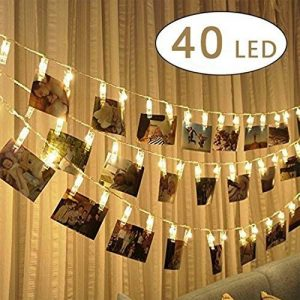 40 LEDs Photo Clips Chaîne Light,Alimenté par batterie 5M LED Photo Clip Pince Guirlande Lumineuse pour décoration intérieure/extérieure Décor Mariage Mural Chambre, Afficher Photo, Pictures, Artwork, Décor La Noël, Anniversaire, Saint Valentin (Blanc Cha image 0 produit