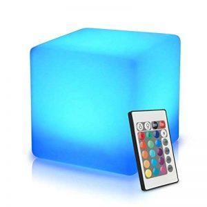 40cm Cube Lumineux LED Extérieur/Intérieur avec Télécommande, Batterie Multicolore Lampe de Nuit, Cube Tabouret Changeant de Couleur Imperméable avec 16 RGB Couleurs et 8 Luminosité Dimmable de la marque MR.GO image 0 produit