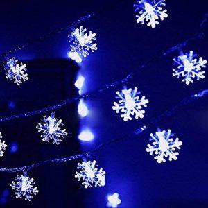5M Guirlande Lumineuse à LED de Noël (Bleu) Flocon de neige Forepin® 40 LEDs Twinkle Flash Mode Batterie Piles (3*AA non inclus) de la marque forepin image 0 produit