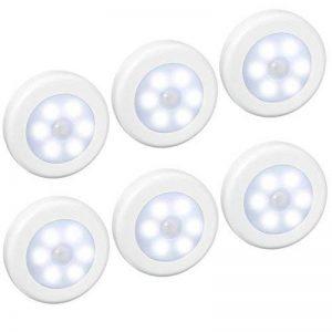 (6 Pack) Lampes LED à Détecteur, AMIR Lampe Détecteur de Mouvement, Lampe de Placard, Alimenté par Batterie (non Inclus), pour Escalier, Armoires, Placards, Alimenté, Facilité d'installation (Blanc) de la marque AMIR image 0 produit