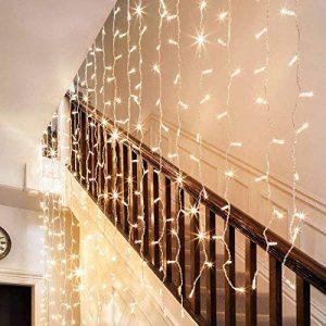 6 x 3 600 Mètres Rideaux droits LED avec fonction mémoire d'alimentation principal de l'UE Prise Costume pour soirée de mariage Décoration de vacances (blanc chaud) de la marque EchoSari image 0 produit