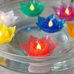 7Couleur Bougie flottante Lotus Bougie LED à piles sans flamme Bougie lumière Belle lampe de festival et décoration pour la maison, jardin, bassin (lot de 7) de la marque Romingo image 2 produit