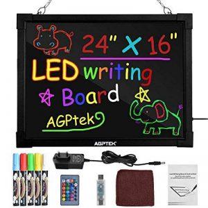 AGPtEK 60CM x 40CM Panneau à Messages Lumineux LED, Panneau à Écritures et à Dessins, Effaçable, Illuminé, avec Télécommande. de la marque AGPTEK image 0 produit