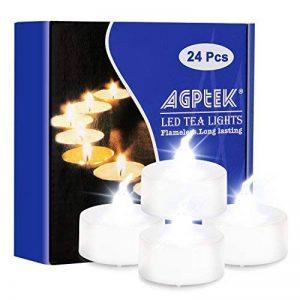 AGPtek Lot 24 Bougie LED à Piles Vacillante Decoration pour Table Party Anniversaire Mariage et D'autre Fete(Blanc Froid Vacillant) de la marque AGPTEK image 0 produit