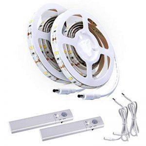 ALED LIGHT® 2pcs LED strip kit Cordon lumineux, bande lumière d'escalier Nuit Step ruban d'éclairage avec détecteur de mouvement pour armoires de cuisine Lit (à 4piles AAA, non inclus) de la marque ALED LIGHT image 0 produit