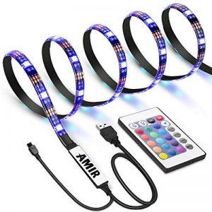 AMIR Ruban à LED RGB pour HDTV, Rétroéclairage TV, 30 LED 1M, USB Powered Imperméable Flexible Rétro-éclairage, Lampe à Rayons LED Multicolores avec Télécommande de la marque AMIR image 0 produit