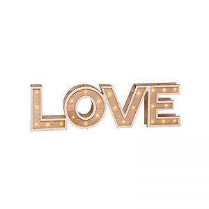 Ampoule LED Blanc chaud Inscription Home en bois ou Love Décoration Lumière éclairage, Bois, motif amour de la marque Haushalt International image 0 produit