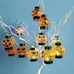 Angmile Halloween Citrouille en Plastique lumière Lanterne Cranial veilleuse Bougie LED lumière colorée Flash pour la décoration de fête 12pcs / Box de la marque image 3 produit