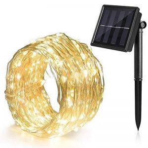 Ankway Guirlande solaire 8modes, comprenant 100LED avec fil de cuivre durable et capteur de lumière IP65étanche, blanc chaud de la marque Ankway image 0 produit