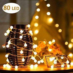 AOOKEY LED Guirlande Lumineuse 10M 80 Ampoules LED à Piles Petites Boules Blanc Chaud Décoration Romantique de la marque AOOKEY image 0 produit