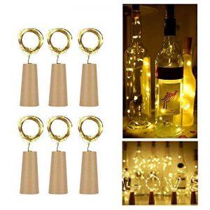 Arote bouteille lumière ensemble de 6 20LEDs 2M LED Lumière d'ambiance déco lumières de la chaîne de vin forme de liège lumière de nuit à piles Bouteilles lumières, blanc chaud, bouteille bricolage, fête, décor, Noël, Halloween, mariage de la marque Arote image 0 produit