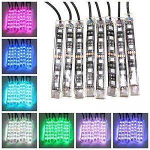 AUDEW 8x Ruban à LED Néon Bande Flexible Strip Light 15 Multi Couleur Eclairage Kit Télécommande Pour Moto Vélo de la marque AUDEW image 0 produit