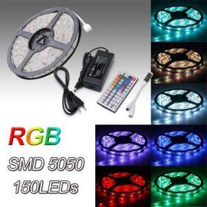 Auralum® 5M RGB Color SMD 5050*150 Leds 12V 36W 2250LM IP65 LED Bande Strip Flexible + 44 Key Contrôleur + DC 12V Source de Courant de la marque AuraLum image 0 produit