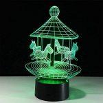 baby Q LED 3D Lampe, Lumière colorée de contact de carrousel, lumières de cadeau créatives, lumière d'alimentation d'USB de la marque baby Q image 2 produit