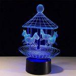 baby Q LED 3D Lampe, Lumière colorée de contact de carrousel, lumières de cadeau créatives, lumière d'alimentation d'USB de la marque baby Q image 3 produit