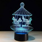 baby Q LED 3D Lampe, Lumière colorée de contact de carrousel, lumières de cadeau créatives, lumière d'alimentation d'USB de la marque baby Q image 4 produit