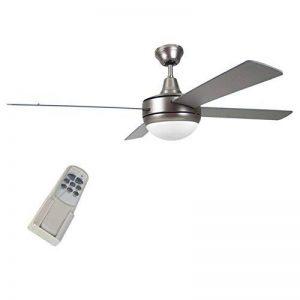 Bakaji - Ventilateur de plafond lumineux, 5pales en bois, avec lampe, 3vitesses et télécommande pour contrôle à distance, dimensions 130x 40cm - Argenté de la marque Bakaji image 0 produit
