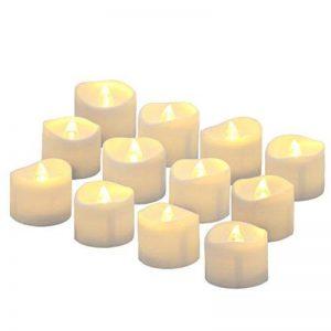 Benvo Lot de 12 Lumières Bougies à LED, Sans Flamme, Réaliste et Bright, Puissance de la Batterie, Fausses Bougies électriques pour Votive, Table Party Anniversaire Mariage(blanc chaud) [Classe énergétique A+] de la marque Benvo image 0 produit