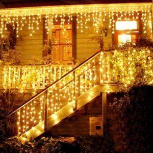 Blue Oceans 216LED 5M Glace Pluie/Stalactite Guirlande lumineuse décoration de Noël lumières de Noël Décoration Fairy Christmas intérieur et extérieur (Blanc chaud–5m) de la marque BUOCEANS image 0 produit