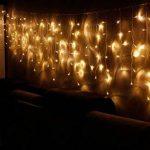 Blue Oceans 216LED 5M Glace Pluie/Stalactite Guirlande lumineuse décoration de Noël lumières de Noël Décoration Fairy Christmas intérieur et extérieur (Blanc chaud–5m) de la marque BUOCEANS image 1 produit