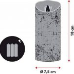 Bougie en cire blanche rustique, h 18 cm, led blanc chaud, avec timer, à piles de la marque LuminalPark image 1 produit