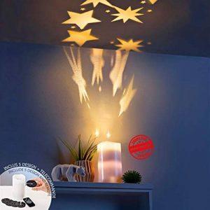 Bougie LED rechargeable | Bougie lumineuse LED avec projection d'images | Projecteur LED 5 recharges incluant 20 images | Bougie LED avec télécommande pour contrôler la vitesse de rotation des images et le temps de projection | Décoration LED | Bougie ave image 0 produit