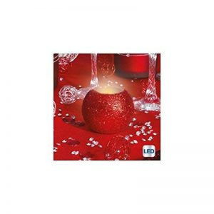 Bougie lumineuse ronde pailletée à LED - Rouge de la marque JJA image 0 produit
