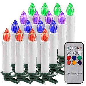 Bougies de Noël Flambeau sans flamme RGB LED Bougie de contrôle à distance avec clip détachable pour Hallowmas Mariage romantique Xmas Home Bar (piles non incluses) (Pack de 10) de la marque ALLOMN image 0 produit